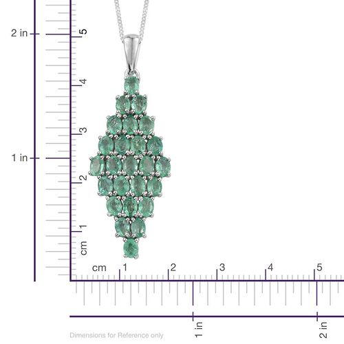 9K W Gold Boyaca Colombian Emerald (Ovl) Cluster Pendant With Chain 3.750 Ct.