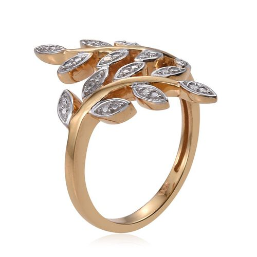 Diamond (Rnd) Leaves Crossover Ring in 14K Gold Overlay Sterling Silver