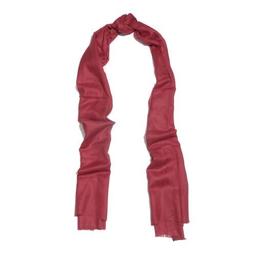 100% Cashmere Wool Burgundy Colour Shawl with Fringes (Size 200X70 Cm)