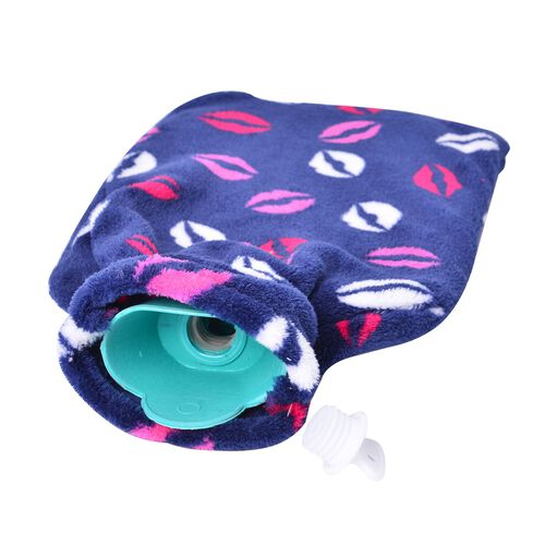 Set of 2 - Hotwater Light Blue, Navy and Multi Colour Lamb and Lips Pattern Flannel Bottle Cover and Bottles (Size 32x18 Cm)