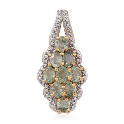 Songea Green Sapphire (Ovl) Pendant in 14K Gold Overlay Sterling Silver 2.000 Ct.
