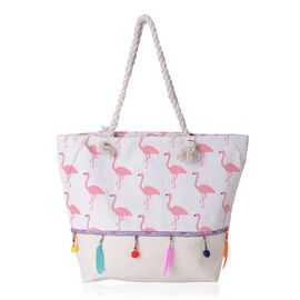 Flamingo Pattern Tote Bag with Multi Colour Tassels (Size 48x33x33x15.5 Cm)