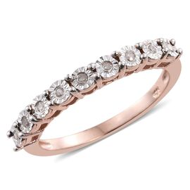 Diamond Silver Stacker Ring in Rose Gold Overlay
