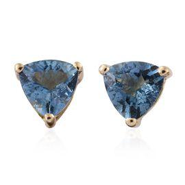 ILIANA 18K Yellow Gold 1.15 Carat AAA Santa Maria Aquamarine (Trl) Stud Earrings (with Screw Back)