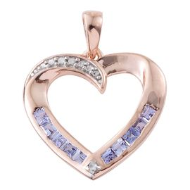 Tanzanite, Diamond 0.51 Ct Silver Heart Pendant in Rose Gold Overlay