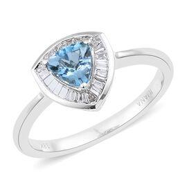 Signature Collection- ILIANA 18K White Gold AAA Santa Maria Aquamarine (Trl), Diamond (SI/ G-H) Ring 1.000 Ct., Gold wt 4.00 Gms.