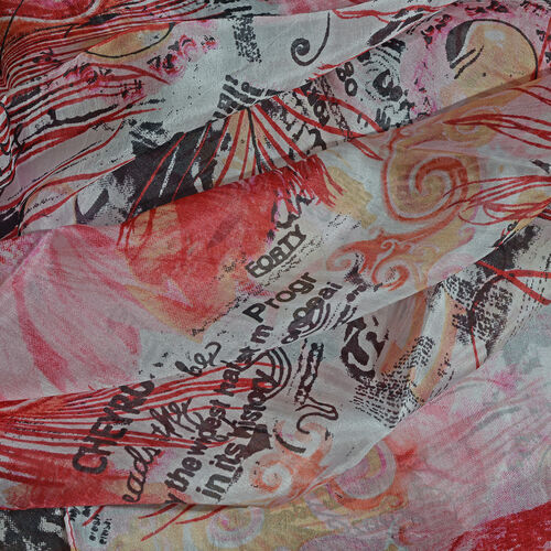 100% Mulberry Silk Pink, Red and Multi Colour Handscreen Peacock Feather and Floral Printed Scarf (Size 170X50 Cm)
