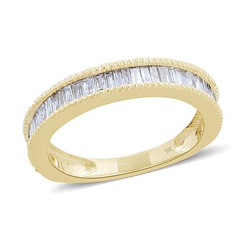 9K Y Gold SGL Certified Diamond (Bgt) (I3/ G-H) Band Ring 0.500 Ct.