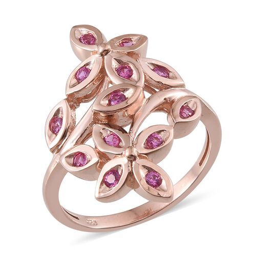 Simulated Pink Sapphire (Rnd) Ring in Rose Gold Overlay Sterling Silver