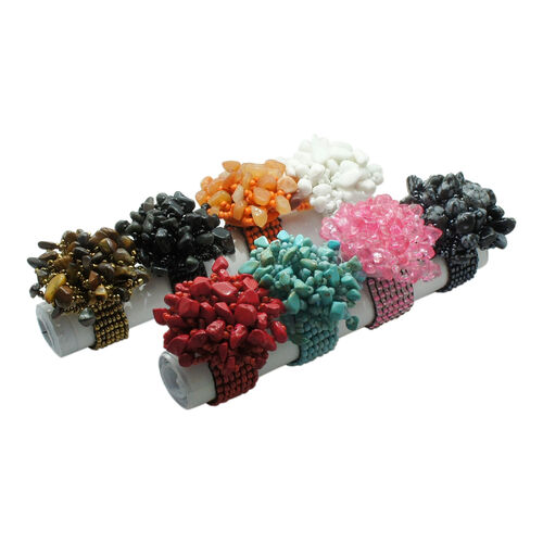 One Time Mega Deal-Set of 10 - Red, Turquoise, Pink and Multi Colour Beads Stretchable Ring