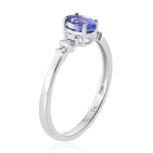 9K White Gold 0.67 Carat AA Tanzanite with Diamond Ring