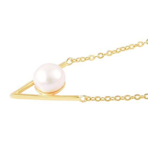 Fresh Water White Pearl (8 - 9 mm) Necklace (Size 16 with 1 inch Extender) in Yellow Gold Overlay Sterling Silver
