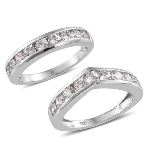 Set of 2 J Francis - Platinum Overlay Sterling Silver (Rnd) Wishbone and Half Eternity Band Ring Made with SWAROVSKI ZIRCONIA, Silver wt 5.56 Gms.