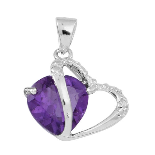 Amethyst (Hrt) Solitaire Pendant in Rhodium Plated Sterling Silver 2.000 Ct.