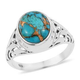 Mojave Blue Turquoise (Ovl) Solitaire Ring in Sterling Silver 4.730 Ct.