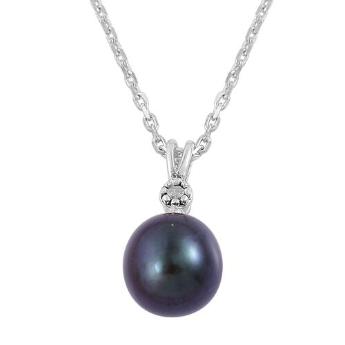 Fresh Water Peacock Pearl and Diamond Pendant With Chain in Rhodium Plated Sterling Silver 3.250 Ct.