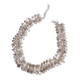 Simulated Grey Moonstone Necklace (Size 20 with 2 inch Extender) in Silver Tone
