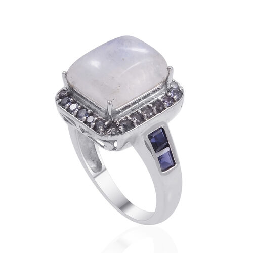 Rainbow Moonstone (Bgt 4.25 Ct), Iolite and Tanzanite Ring in Platinum Overlay Sterling Silver 5.250 Ct.