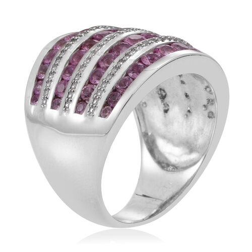 Pink Sapphire (Rnd), Natural Cambodian Zircon Ring in Rhodium Plated Sterling Silver 3.750 Ct.