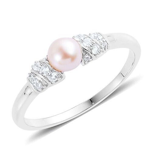 Japanese Akoya Pearl (Rnd 1.05 Ct), White Topaz Ring in Platinum Overlay Sterling Silver 1.250 Ct.
