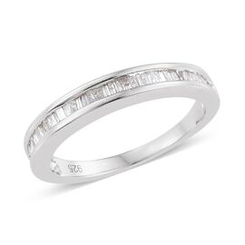 Diamond (Bgt) Half Eternity Band Ring in Platinum Overlay Sterling Silver 0.330 Ct.