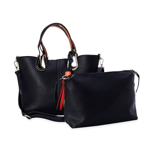 Set of 2 - Black Colour Large and Small Tote Bag with Adjustable and Removable Shoulder Strap (Size 36.5x25x13 Cm, 26x19x10 Cm)