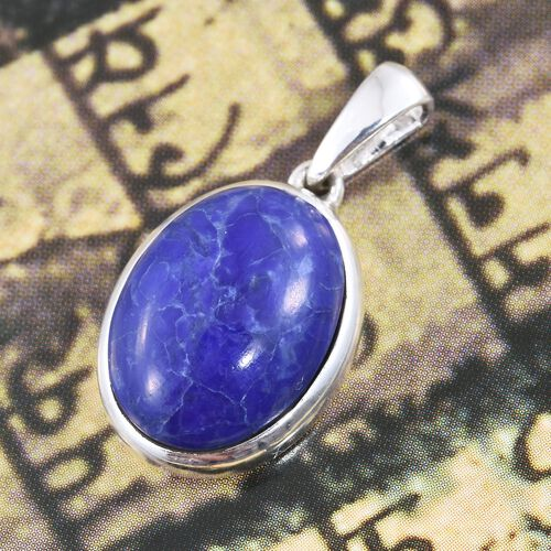 Blue Howlite (Ovl) Pendant in Sterling Silver 11.000 Ct.
