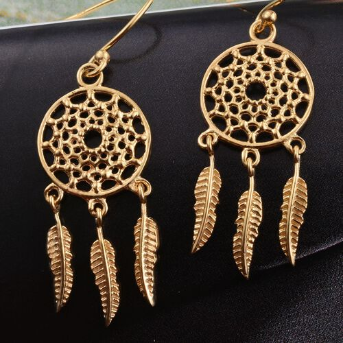 One Time Deal-14K Gold Overlay Sterling Silver Dreamcatcher Hook Earrings, Silver wt 5.40 Gms.