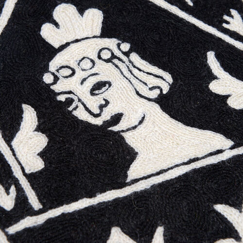 Home Textiles - Black and White Colour Embroidery Woolen Rug (Size 90x60 Cm)