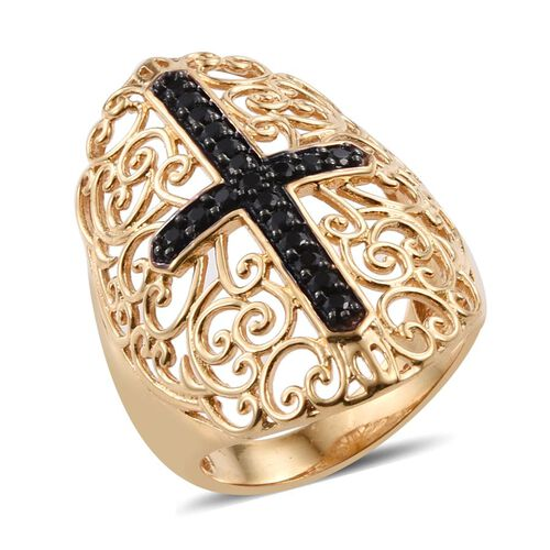 Boi Ploi Black Spinel Cross and Filigree Ring in 14K Gold Overlay Sterling Silver 0.500 Ct.