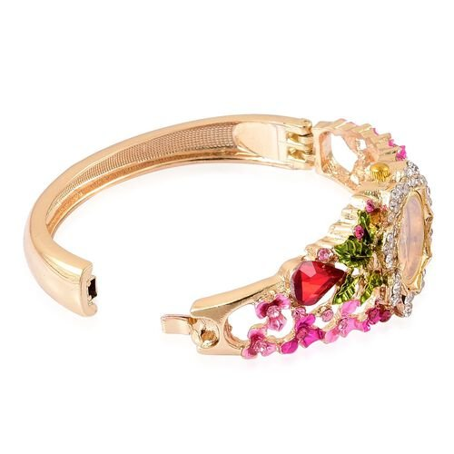 STRADA Japanese Movement Golden Sunshine Dial with Simulated Ruby, Pink and White Austrian Crystal Studded Floral Enameled Water Resistant Bangle Watch in Yellow Gold Tone with Stainless Steel