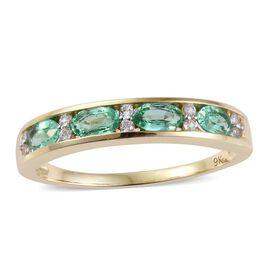9K Y Gold AA Boyaca Colombian Emerald (Ovl), Natural Cambodian Zircon Ring 1.000 Ct.
