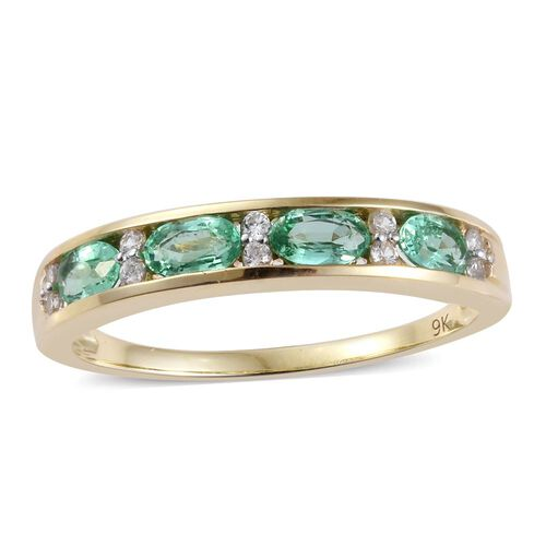 9K Y Gold AA Boyaca Colombian Emerald (Ovl), Natural Cambodian Zircon Ring 1.000 Ct.
