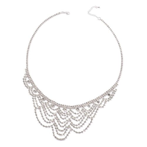 White Austrian Crystal Necklace (Size 20 with 2 inch Extender) in Silver Tone