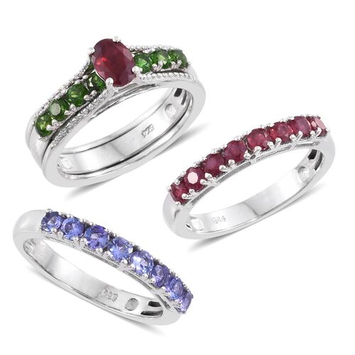 Limited Edition- Set of 3 African Ruby (Ovl 1.20 Ct), Tanzanite and Russian Diopside Interchangeable Stacker Ring in Platinum Overlay Sterling Silver 4.000 Ct. Silver Wt. 10.46 Grams