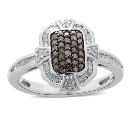 Natural Champagne Diamond (Rnd), White Diamond Ring in Platinum Overlay Sterling Silver 0.500 Ct.