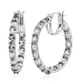 AAA Espirito Santo Aquamarine (Ovl) Hoop Earrings (with Clasp Lock) in Platinum Overlay Sterling Silver 5.000 Ct. Silver wt 6.69 Gms.