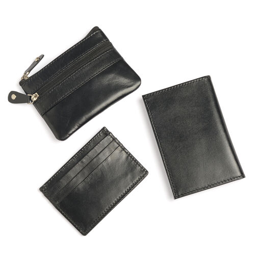 Set of 3 - Genuine Leather Black Colour Coin Pouch (Size 11x8 Cm), Card Holder (Size 10x7 Cm) and Money Clip (Size 12x8 Cm)