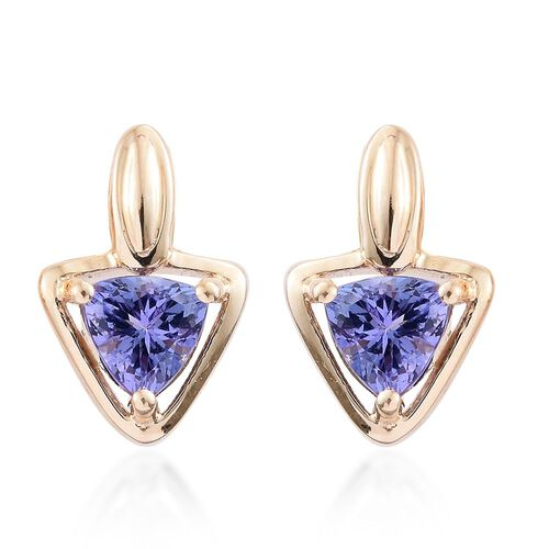 9K Yellow Gold AA Tanzanite (Trl) Stud Earrings (with Push Back) 0.835 Ct.