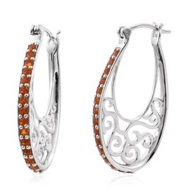 AA Jalisco Fire Opal (Rnd) Hoop Earrings (with Clasp) in Platinum Overlay Sterling Silver 1.000 Ct.