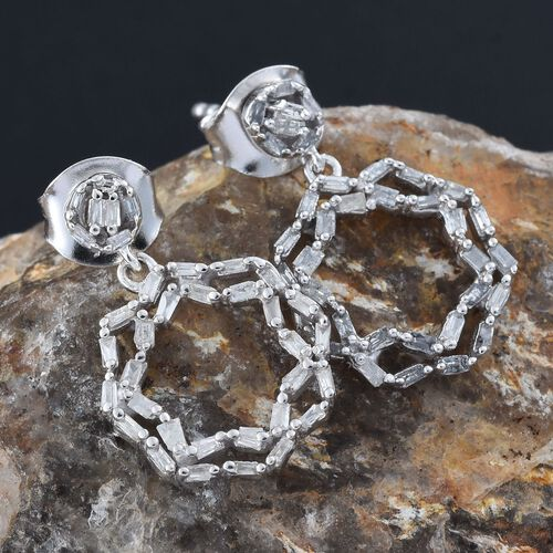 Designer Inspired-Diamond (Bgt) Earrings (with Push Back) in Platinum Overlay Sterling Silver 0.330 Ct.