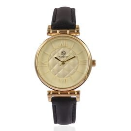STRADA Japanese Movement Rhombus Pattern Golden Dial Water Resistant Watch in Yellow Gold Tone with Black Colour Strap