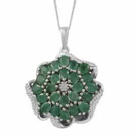 Designer Inspired- Kagem Zambian Emerald (Pear), Natural Cambodian Zircon Pendant With Chain in Platinum Overlay Sterling Silver 3.000 Ct.