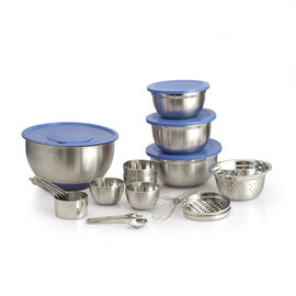 25 Pcs. Stainless Steel Kitchen Set - 1 Splash Bowl, 3 Graters, 3 Mixing Bowls with 4 Blue Lids, 4 Serving Bowls, 4 Measuring Cups, 4 Measuring Spoons, 1 Whisk, 1 Colander