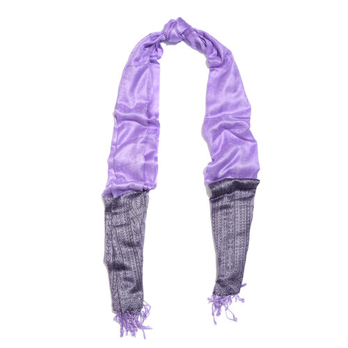 Lilac Colour Paisley Pattern Reversible Scarf with Tassels (Size 200X70 Cm)