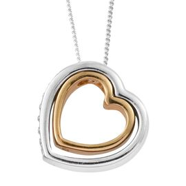 J Francis - Designer Inspired - New Concept - Platinum and Yellow Gold Overlay Sterling Silver (Rnd) Concentric Heart Pendant with Chain Made with SWAROVSKI ZIRCONIA