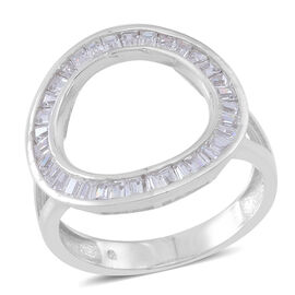ELANZA AAA Simulated Diamond (Bgt) Ring in Rhodium Plated Sterling Silver