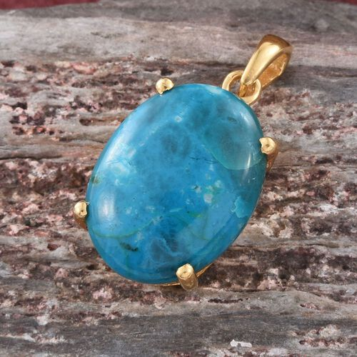 Natural Rare Opalina (Ovl) Pendant in 14K Gold Overlay Sterling Silver 13.750 Ct.
