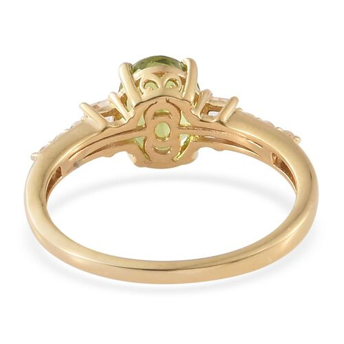 Hebei Peridot, White Topaz 2.90 Ct Silver Ring in Gold Overlay