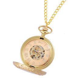 GENOA Automatic Skeleton Golden Dial Water Resistant Pocket Watch with Cover and Chain (Size 32) in Yellow Gold Tone